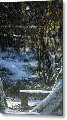 Metal Print featuring the photograph Bench In Snow by Rebecca Cozart