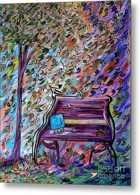 Bench On A Windy Day Metal Print