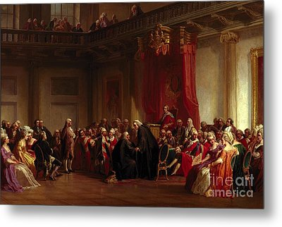 Benjamin Franklin Appearing Before The Privy Council  Metal Print