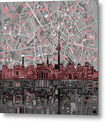Berlin City Skyline Abstract Metal Print