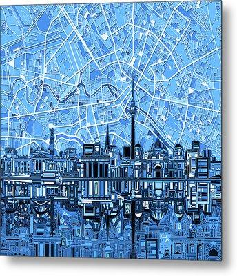 Berlin City Skyline Abstract Blue Metal Print by Bekim Art