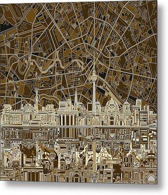 Berlin City Skyline Abstract Brown Metal Print by Bekim Art
