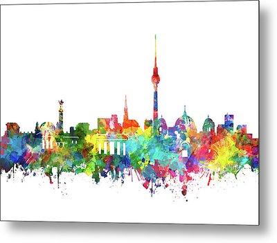 Berlin City Skyline Watercolor Metal Print