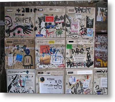Metal Print featuring the photograph Berlin  Mailboxes by Erik Falkensteen
