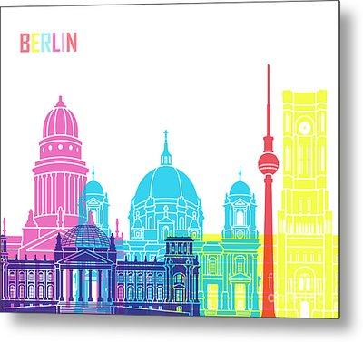 Berlin V2 Skyline Pop Metal Print by Pablo Romero