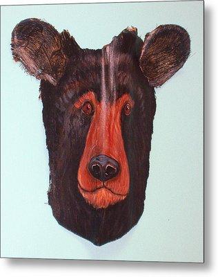 Berry Black Bear Metal Print by Ellen Burns