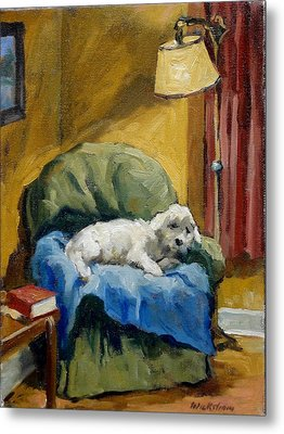 Bichon Frise On Chair Metal Print by Thor Wickstrom