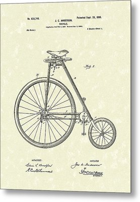 Bicycle Anderson 1899 Patent Art Metal Print by Prior Art Design