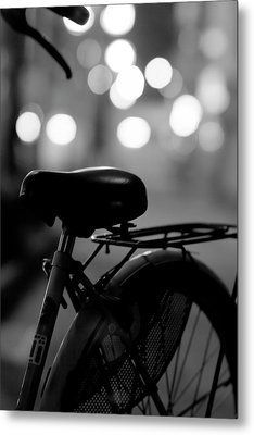 Bicycle On Street At Night In Osaka Japan Metal Print by Freedom Photography