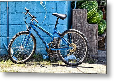 Bicycle With Watermelons Metal Print