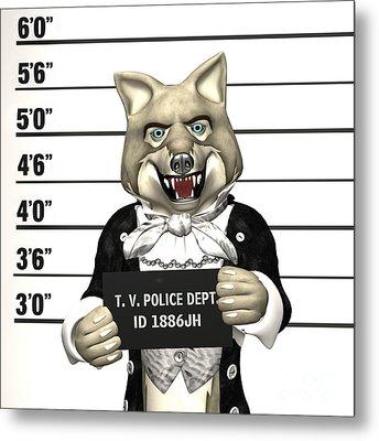 Big Bad Wolf Mugshot Metal Print by Methune Hively