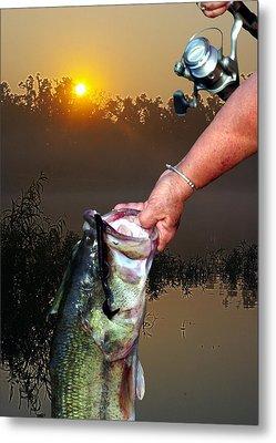 Big Bass At Sunrise Metal Print by Ron Kruger