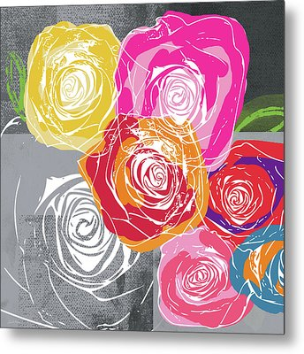 Big Colorful Roses 1- Art By Linda Woods Metal Print
