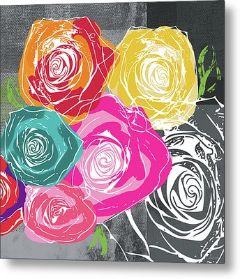 Big Colorful Roses 2- Art By Linda Woods Metal Print