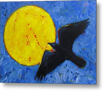 Big Full Moon And Raven Metal Print
