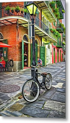 Bike And Lamppost In Pirates Alley-painted Metal Print