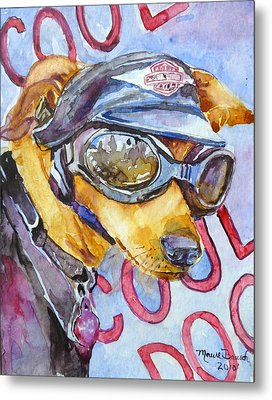 Metal Print featuring the painting Biker Weiner by P Maure Bausch