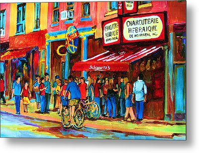 Biking Past The Deli Metal Print by Carole Spandau
