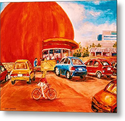 Biking Past The Orange Julep Metal Print by Carole Spandau