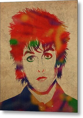 Billy Joe Armstrong Green Day Watercolor Portrait Metal Print
