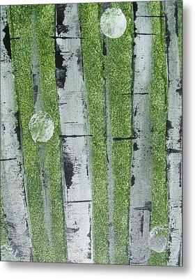 Birch - Green 1 Metal Print by Jacqueline Athmann