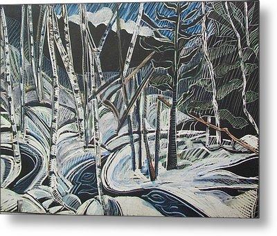 Birch Forest, Winter Metal Print