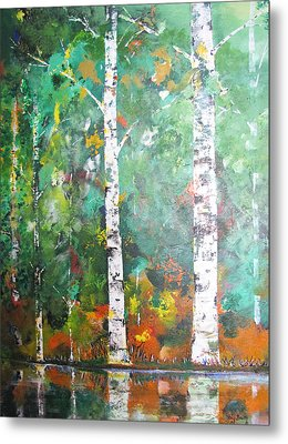 Metal Print featuring the painting Birch In Color by Gary Smith