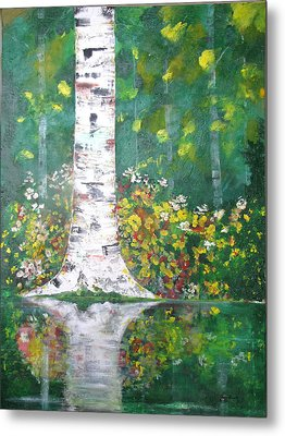 Metal Print featuring the  Birch In Flowers by Gary Smith