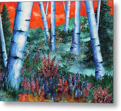 Birch Trees At Sunset Metal Print by Curtiss Shaffer