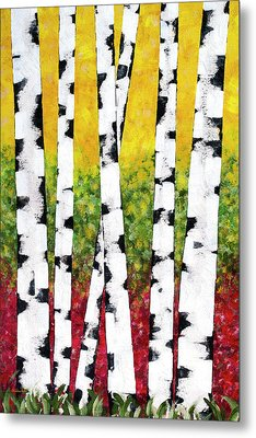 Birch Forest Trees Metal Print