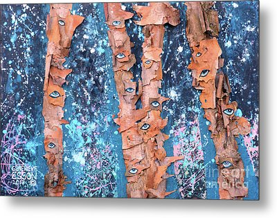 Birch Trees With Eyes Metal Print by Genevieve Esson