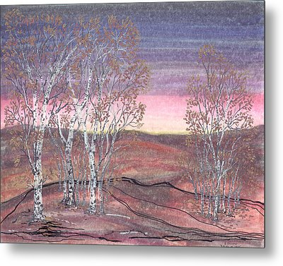Birches At Dawn Metal Print by Regina Valluzzi