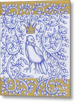 Bird Crown Gold Metal Print