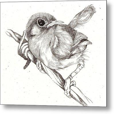 Bird On A Wire Metal Print by Deborah Wetschensky