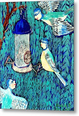 Bird People The Bluetit Family Metal Print by Sushila Burgess