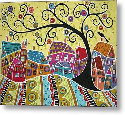 Bird Ten Houses And A Swirl Tree Metal Print by Karla Gerard