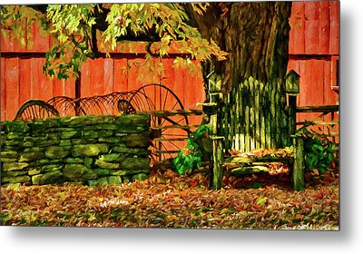 Metal Print featuring the photograph Birdhouse Chair In Autumn by Jeff Folger