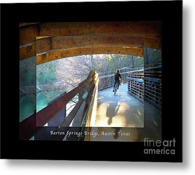 Birds Boaters And Bridges Of Barton Springs - Bridges One Greeting Card Poster V2 Metal Print