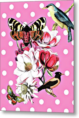 Birds, Flowers Butterflies And Polka Dots Metal Print