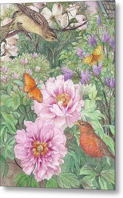 Birds Peony Garden Illustration Metal Print by Judith Cheng