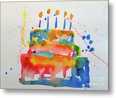 Metal Print featuring the painting Birthday Blue Cake by Claire Bull