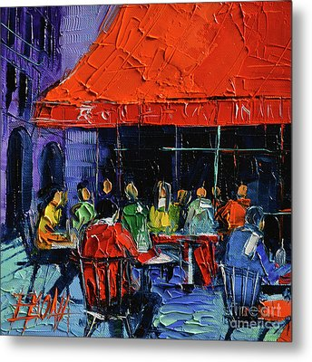 Bistrot Rouge Rendezvous Metal Print by Mona Edulesco