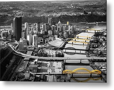 Black And Gold Pittsburgh  Metal Print