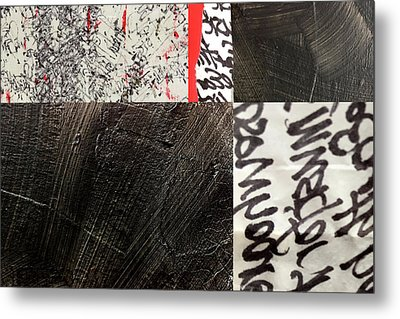 Metal Print featuring the painting Black And Red 3 by Nancy Merkle