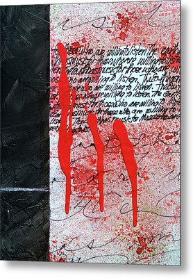 Metal Print featuring the painting Black And Red 8 by Nancy Merkle