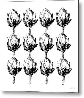 Black And White Artichokes- Art By Linda Woods Metal Print by Linda Woods