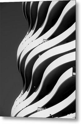 Black And White Concrete Waves Metal Print