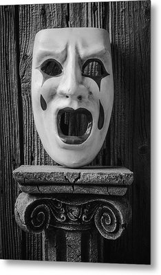 Black And White Crying Mask Metal Print by Garry Gay