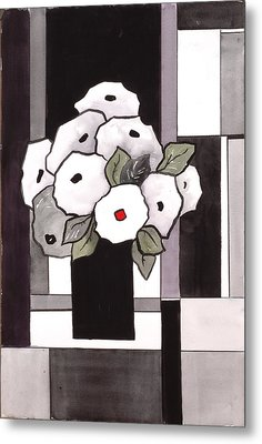 Black And White Funny Flowers Metal Print by Carrie Allbritton