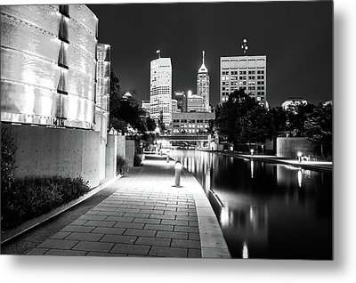Black And White Indianapolis Skyline From The Canal Metal Print